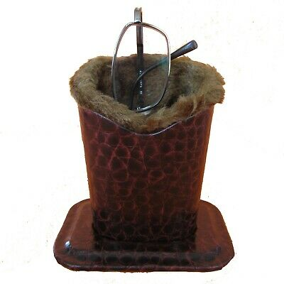 Brown Crocodile Plush Eyeglass Stand Holder w.Cleaning Cloth, Protect and Store