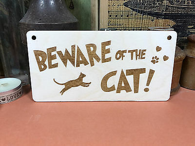 BEWARE OF THE CAT SIGN wooden hanger house plaque fab kitten cat lover wood gift