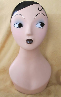 "18"" DECO FLAPPER STYLE Mannequin Head JEWELRY WIG HAT Display"