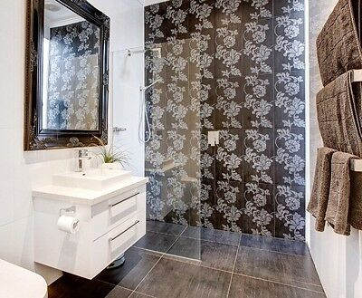 Black Bathroom Feature Italian Tiles Bulk RRP $600+ Artisan Victorian Floral