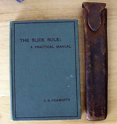 1906 Slide Rule Manual Book & Antique Keuffel & Esser Co Slide Rule Leather Case