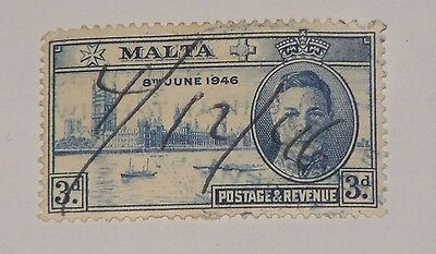Malta Stamp 3d London Hand Pen Cancelled before Publication Date Thin Paper HR