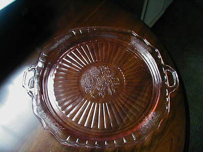 Vintage Pink Mayfair Open Rose Cake Plate With Handles Chips On Edges