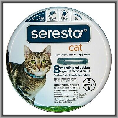 Bayer Seresto Flea and Tick Collar for Cat (All Weights), 8 Month Protection NEW