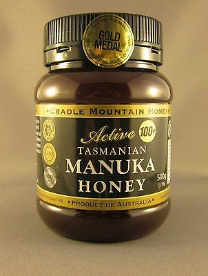 Cradle Mountain Active (100+) Tasmanian Manuka  honey, 500gm jar, free shipping