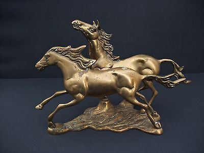 2 Brass Running Horses Figurine Double Horses Sculpture Statue 13 Inches