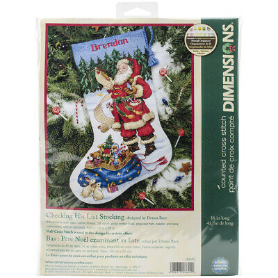 "Dimensions Checking His List Stocking Counted Cross Stitch Kit-16"" Long 14 Count"