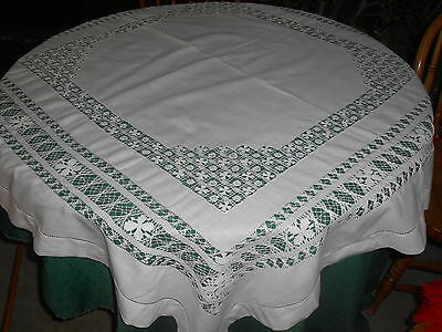 Fabulous Snow White Tablecloth With Incredible Hand Drawn Thread Work, Cir.1920