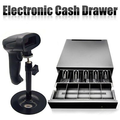 Cash Drawer RJ11 5 Coins 5 Bills/Auto Laser BarCode Scanner Stand Handhold AU