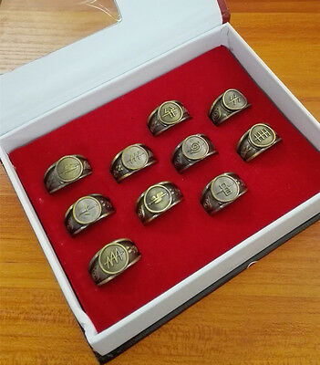Naruto Akatsuki Sasuke Kakashi Members Sharingan Golden Rings 10pcs in Gift Box