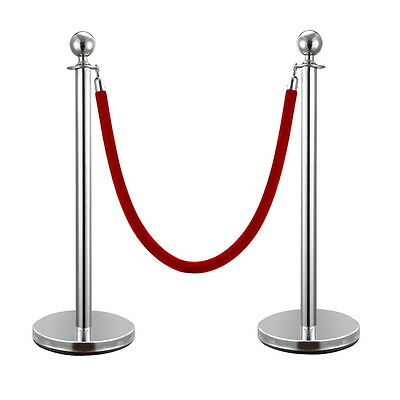 2pcs Ball Top Stainless Steel Crowd Control Stanchions Velvet Rope Barrier NEW