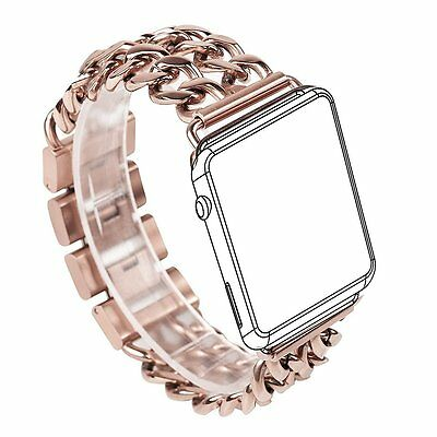 For Apple Watch Bracelet Band Rose Gold Stainless Steel iWatch Chain Band 38mm