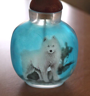 Samoyed Chinese Snuff Bottle Hand Painted From Inside