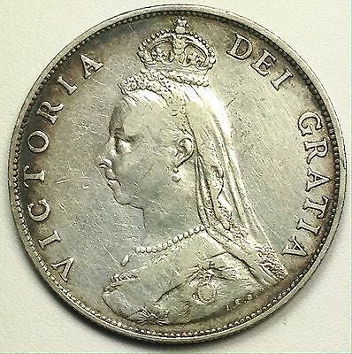 1887 UK Great Britain 2 Shillings Florin Silver Coin (L117)
