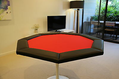 "48"" Octagon Red Premium Folding Poker Table Top Casino Grade Finish Luxury NEW"