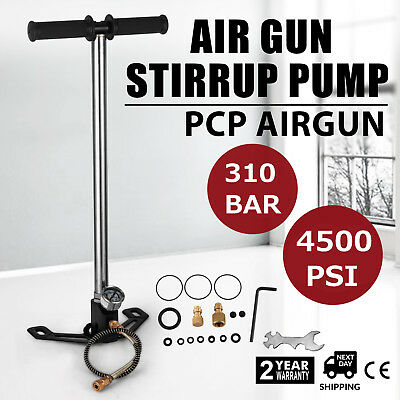 3 Stage PCP Air Gun Rifle Filling Stirrup Pump 4500PSI Charging Hose Gas Filter