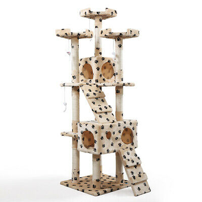 """Cat Tree 67"""" Tower Condo Furniture Scratching Post Pet Kitty Play House Beige"""