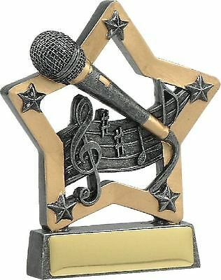 Microphone Trophy Star 130mm Engraved FREE