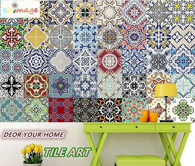 10pcs Self Adhesive Tile art Wall Decal Sticker DIY Kitchen Bathroom Home Decor