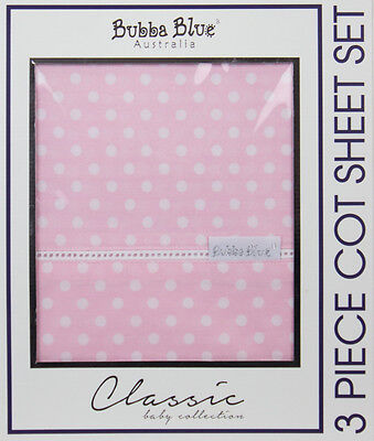 Bubba Blue Polka Dot 3pcs Cot Sheet Set - Pink