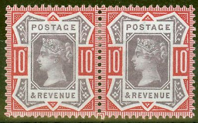 GB 1890 10d Dull Purple & Carmine SG210 Fine & Fresh Mtd Mint Pair