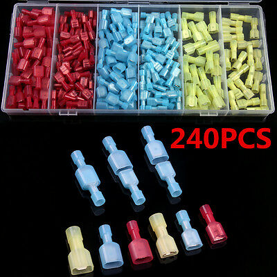 240Pcs Insulated Nylon Electrical Wire Terminals Crimp Connectors Spade Set Kits
