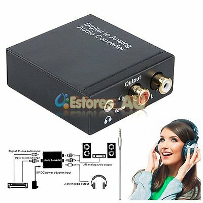 Digital to Analog Audio Converter Adapter Toslink Signal Optical Coaxial RCA L/R