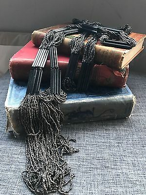 Vintage 1920's French Flapper Necklace Gatsby Cut Steel French Jet Sautoir