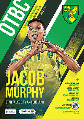 Official Norwich City Fc 2016/17 Programme And Teamsheet Vs Reading Fc