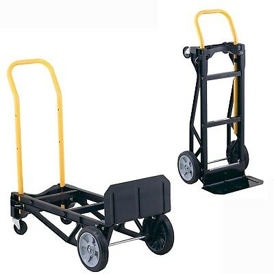 Folding Hand Truck Dolly Lightweight Convertible Trolley Luggage 4 Wheels Cart