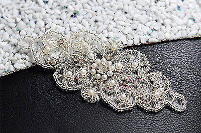 S140A Rhinestone Pearl Applique, Crystal Bead, Bridal Wedding Sash Belt Applique