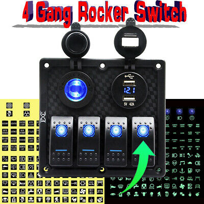 4 gang rocker switch Panel+ Digital Voltmeter+Double USB Power Charger Adapter