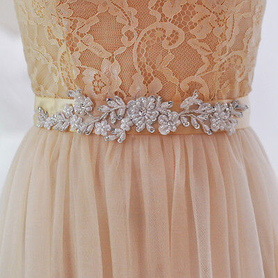 Lace Crystal Bead Bridal Sash Rhinestones Wedding Dress Belt Accessories