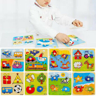 Baby Toddler Development Animal Cognize Wood Colourful Brick Puzzle Toy Tempting