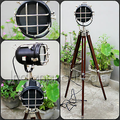 Antique Nautical Designer Industrial Floor Lamp With Stand Vintage Spot Light.
