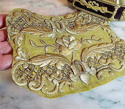 Antique French Gold Metallic Embroidery Panel Stump Work Applique Rose Flower