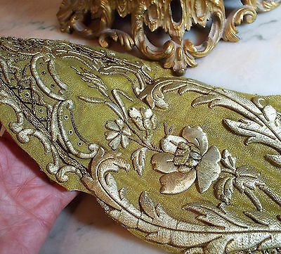 Antique French Gold Metallic Embroideryl Stump Work Applique Rose Flower