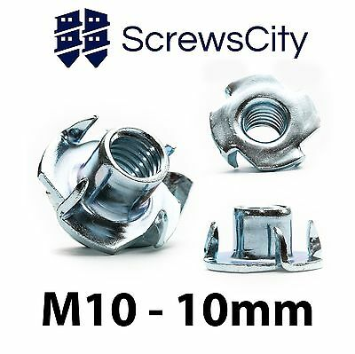 M10 - 10 mm T Nuts For Furniture, Wood, Captive, Blind Inserts, Four Pronged
