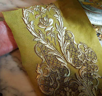 Antique French Gold Metallic Embroidered Stump Work Applique Rose Flower