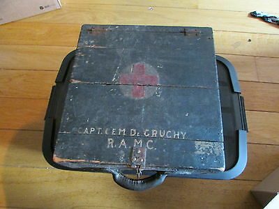 WW1 Named British Wood Medical Case RAMC  RARE