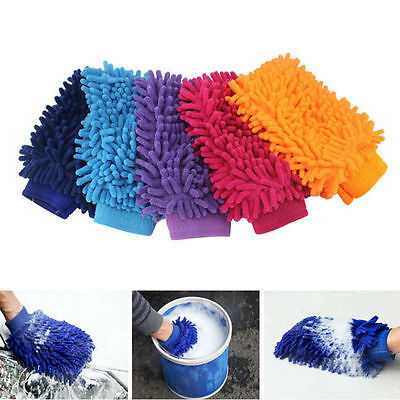 Scratch Super Microfiber Gloves Valeting Mitt Chenille Car Cleaning Wash Glove*