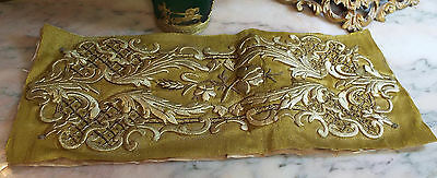 Antique French Gold Metallic Embroidery Stumpwork Applique Rose Flower