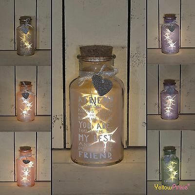 Led Light Up Jar Decoration Gift Message Star Present Birthday Fairy Warm