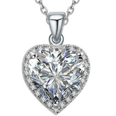 Sparkly Clear CZ White Gold finish Heart Pendant Necklace UK Bridal Jewellery
