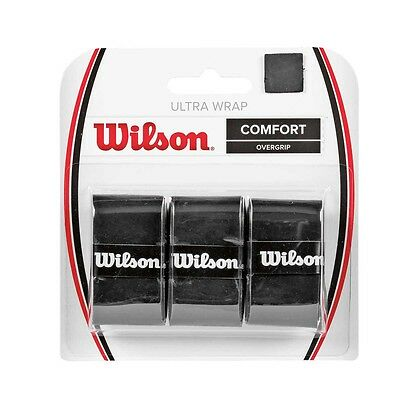 Wilson ULTRA WRAP TENNIS OVERGRIP 3Pcs Pack,Add Extra Traction, Black *USA Brand
