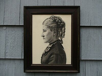 NICE Antique Framed Profile Portrait Drawing of Woman with Ringlets