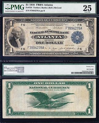 "VERY NICE Bold & Crisp VF 1918 ATLANTA $1 ""GREEN EAGLE"" FRBN! PMG 25! F7894278A"