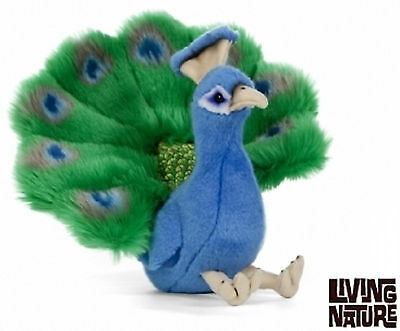 Living Nature Peacock Plush - Sitting Colourful Fluffy Teddy Toy Bird