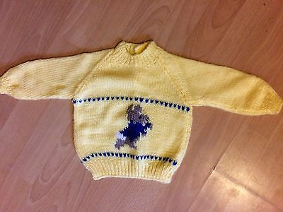 "Fab NEW Yellow Hand Knitted Baby Jumper Peter Rabbit 18"" 0-6 months Gift"
