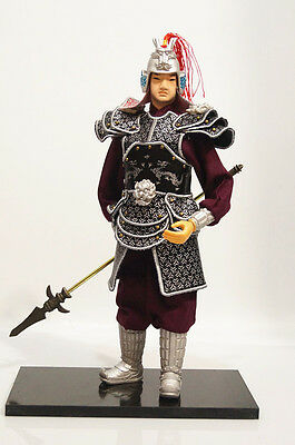 12.58'' tall Chinese Ancient Powerful Commander Warrior Soldier PU leather Cloth